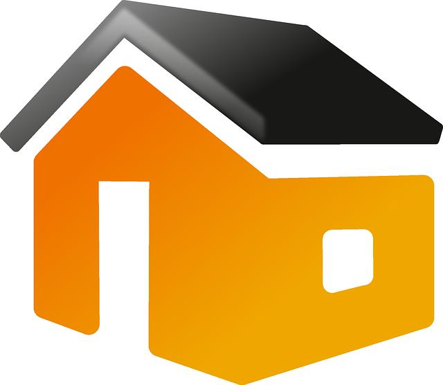 öranžový domek, černá střecha